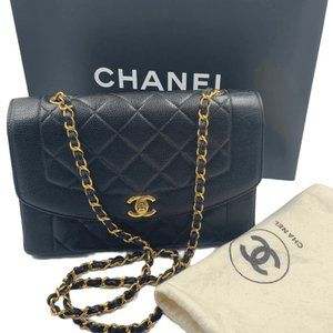 Authentic CHANEL Caviar Diana Medium Flap Black
